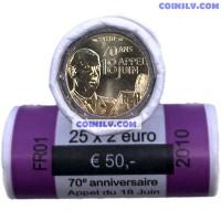 France 2010 roll 2 Euro 2010 - General de Gaulle (x25 coins)