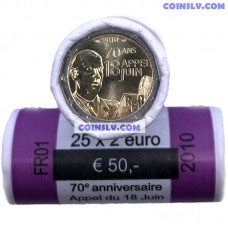 France 2 Euro roll (x25 coins) 2010 - General de Gaulle
