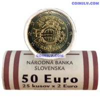 """Slovakia 2012 roll 2 Euro """"10 years of the Euro"""" (X25 coins)"""