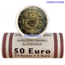 "Slovakia 2012 roll 2 Euro ""10 years of the Euro"" (X25 coins)"