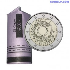 """Netherlands 2015 (2 Euro x25 coins) """"The 30th anniversary of the EU flag"""" (*not Mint roll)"""