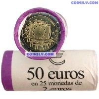 "Spain 2015 roll (2 Euro x25 coins) ""The 30th anniversary of the EU flag"""
