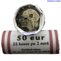 """Slovakia 2 Euro roll 2020 """"20th anniversary of Slovakia's accession to the Organisation for Economic Co-operation and Development (OECD)"""" (X25 coins)"""
