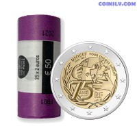 France 2021 roll 2 Euro - UNICEF (x25 coins)