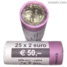 """Luxembourg 2 euro roll 2017 """"The 200th anniversary of the Grand Duke Guillaume III"""" (X25 coins)"""