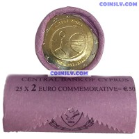 """Cyprus 2 euro roll 2009 """"10 years of economic and monetary union (EMU)"""" (X25 coins)"""