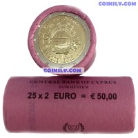 """Cyprus 2 euro roll 2012 """"10 years of the Euro"""" (X25 coins)"""