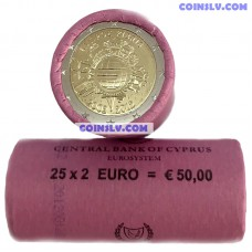 "Cyprus 2 euro roll 2012 ""10 years of the Euro"" (X25 coins)"