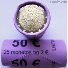 """Lithuania 2 euro roll 2015 """"The Lithuanian language"""" (X25 coins)"""