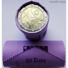 """Portugal 2 euro roll 2016 """"50 years of the first bridge of the Tejo River"""" (X25 coins)"""