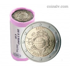 "Estonia 2 euro roll 2012 ""10 years of the Euro"" (X25 coins)"