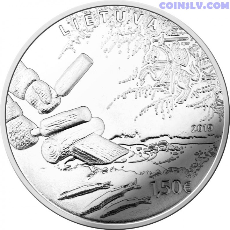 lithuania 1 5 euro coin 2019 smelt fishing by attracting. Black Bedroom Furniture Sets. Home Design Ideas