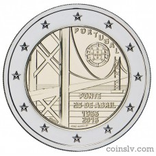 "2 Euro Portugal 2016 ""50 years of the first bridge uniting the two riverbanks of the Tejo River"""