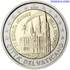 """2 euro Vatican 2005 """"20th World Youth Day in Cologne"""" (without folder, only coin!)"""