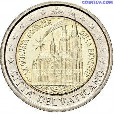 "2 euro Vatican 2005 ""20th World Youth Day in Cologne"" (without folder, only coin!)"
