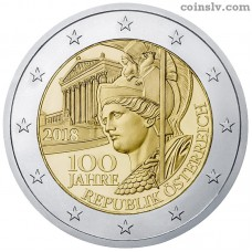 "2 Euro Austria 2018 ""100 years of the Austrian Republic"""
