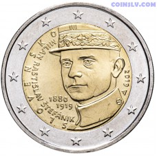 "2 Euro Slovakia 2019 ""100th anniversary of the death of Milan Rastislav Štefánik"""