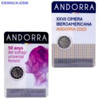 2 Euro Andorra 2020 x2 Commemorative Coin Set (Summit+Suffrage)