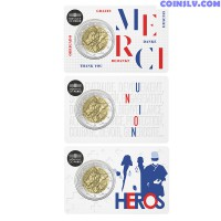 2 Euro France 2020 - Medical Research (3 Coincard Set)
