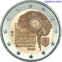"""2 Euro Slovakia 2020 """"20th anniversary of Slovakia's accession to the Organisation for Economic Co-operation and Development (OECD)"""""""