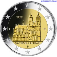 """2 Euro Germany 2021 - Saxony Anhalt """"Cathedral of Magdeburg"""" (F)"""