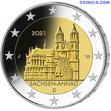 """2 Euro Germany 2021 - Saxony Anhalt """"Cathedral of Magdeburg"""" (J)"""