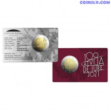 Coincard 2 Euro BU Latvia 2021 - The 100th anniversary of Latvia's international recognition de iure