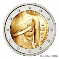 "2 Euro France 2017 ""25th anniversary of the fight against breast cancer"""