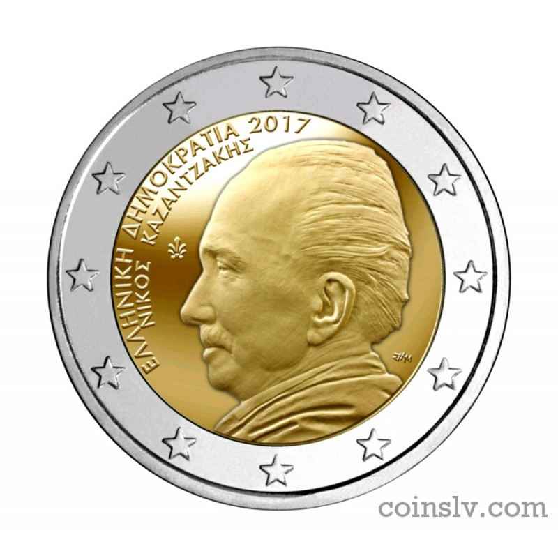 "GREECE 2 Euro commemorative coin 2017 /""Nikos Kazantzakis/"" UNC"