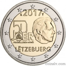 "2 Euro Luxembourg 2017 ""The 50th anniversary of the voluntariness of the Luxembourg army"""