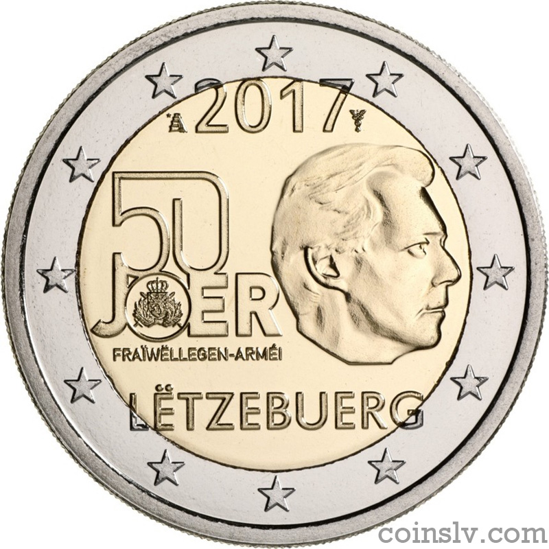coin 2 euro luxembourg 2017 the 50th anniversary of. Black Bedroom Furniture Sets. Home Design Ideas