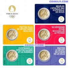 2 Euro France 2021 - Olympic Games Paris 2024 (5 Coincard Set)
