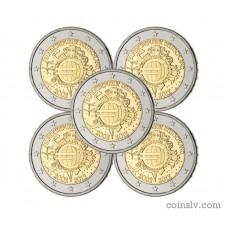 "5 X 2 euro Germany 2012 ""10 years of the Euro"" (ADFGJ)"