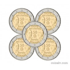 "5 X 2 euro Germany 2013 ""50th anniversary of the signing of the Élysée"" (ADFGJ)"