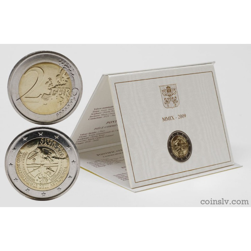 2 euro coin vatican 2009 international year of astronomy. Black Bedroom Furniture Sets. Home Design Ideas
