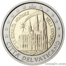 "2 euro Vatican 2005 ""20th World Youth Day in Cologne"""