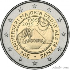 "2 Euro Andorra 2015 ""30th anniversary of the Coming of Age and Political Rights to the Men and Women turning 18 years old"""