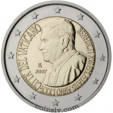 "2 euro Vatican 2007 ""80th anniversary of the Pope Benedictus XVI"""