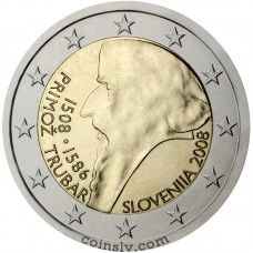 "2 euro Slovenia 2008 ""500th anniversary of Primož Trubar's birth"""