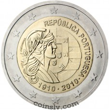 "2 euro Portugal 2010 ""100th anniversary of the Republic of Portugal""1.020.000"