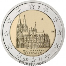 "2 euro Germany 2011 ""Northrhine-Westphalia ""Köln cathedral"""" (A)"