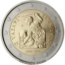 "2 euro San Marino 2011 ""500th anniversary of the birth of the Italian painter Giorgio Vasari"""