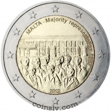 "2 euro Malta 2012 ""Majority Representation 1887"""