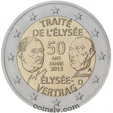 "2 Euro Germany 2013 ""50th anniversary of the signing of the Élysée Treaty"" (J)"