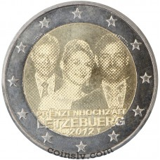 "2 euro Luxembourg 2012 ""The wedding with the Countess Stéphanie de Lannoy"""