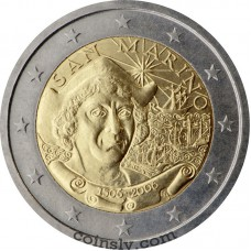"2 euro San Marino 2006 ""500th anniversary of the death of Christopher Columbus"""