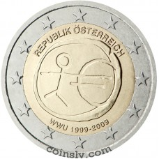 "2 euro Austria 2009 ""10 years of Economic and monetary union"""