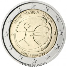 "2 euro Belgium 2009 ""10 years of Economic and monetary union"" (coincard)"