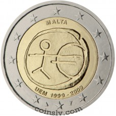 "2 euro Malta 2009 ""10 years of Economic and monetary union"""