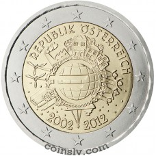 "2 euro Austria 2012 ""10 years of the Euro"""